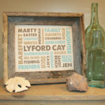 Burlap print with Barn wood frame