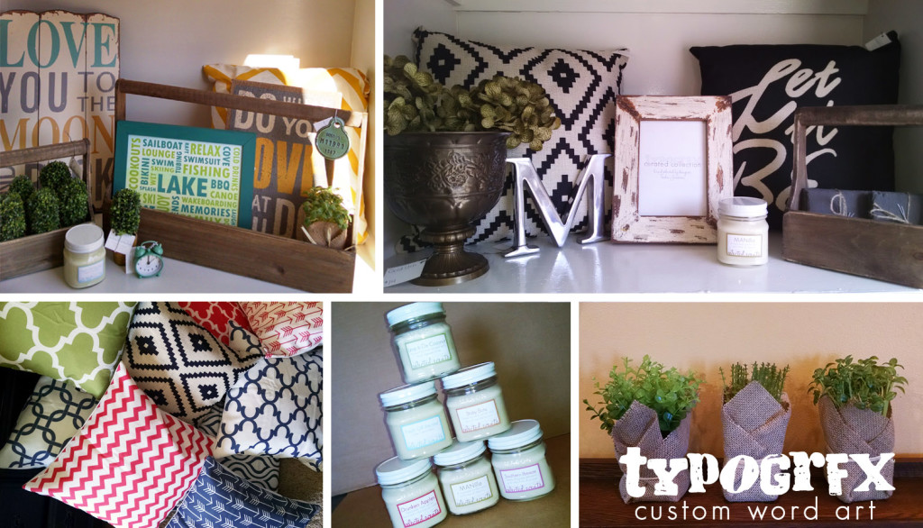 TYPOGRFX curated collection of home decor accessories - pillows, faux-real plants, frames, candles and more!